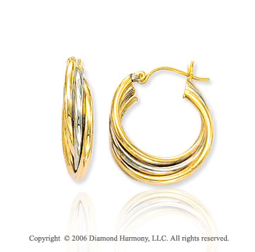 14k Two Tone Gold Hinge Post 5mm Triple Hoop Earrings