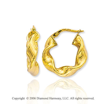 14k Yellow Gold � in, 5mm Small Twisted Hoop Earrings