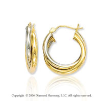 14k Two Tone Gold 1 inch, 6mm Double Hoop Earrings