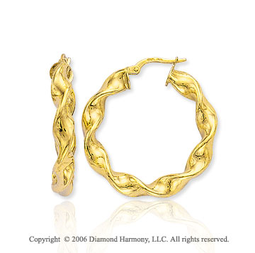 14k Yellow Gold 1 3/8 in, 6mm Twisted Hoop Earrings
