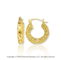 14k Yellow Gold 7/8in, 5mm Carved Hoop Earrings