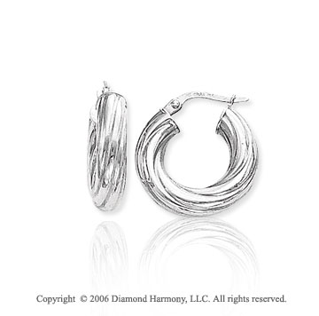 14k White Gold 7/8 in, 5mm Medium Swirl Hoop Earrings