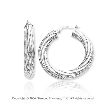 14k White Gold 1 � in, 3mm Large Swirl Hoop Earrings