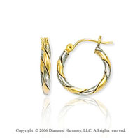 14k Two Tone Gold � inch, 3mm Small Twist Hoop Earrings