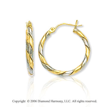 14k Two Tone Gold 1 inch, 3mm Medium Twist Hoop Earrings