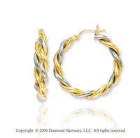 14k Two Tone Gold 1 3/8 in, 5mm Large Twist Hoop Earrings