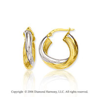 14k Two Tone Gold 1in, 6mm Wrapped Hoop Earrings