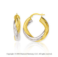 14k Two Tone Gold 1 1/8in, 6mm Wrapped Hoop Earrings