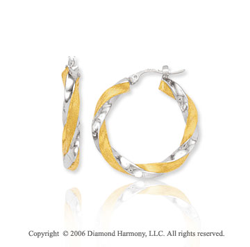 14k Two Tone Gold 1 1/8 in, 5mm Twisting Hoop Earrings
