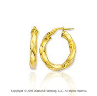 14k Yellow Gold 1 inch, 4mm Twisted Hoop Earrings