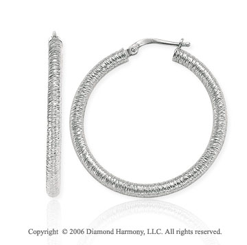 14k White Gold 1 1/2in, 4mm Florentine Hoop Earrings