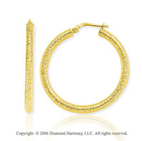14k Yellow Gold 1 � in, 4mm Florentine Hoop Earrings