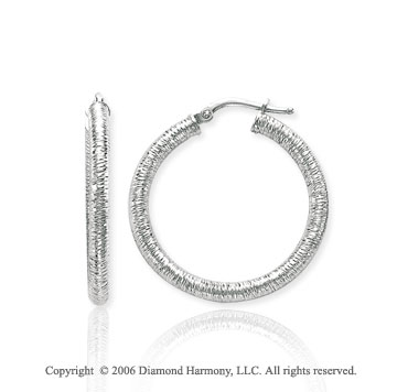 14k White Gold 1 1/8 in, 3mm Florentine Hoop Earrings