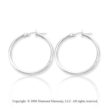 14k White Gold 1 1/8 in, 2mm Medium Hoop Earrings