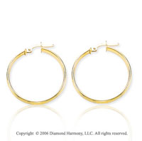 14k Yellow Gold 1 1/8 in, 2mm Medium Hoop Earrings