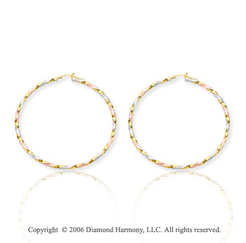 14k Tri Tone 2 1/8 in, 3mm Candy Stripe Hoop Earrings