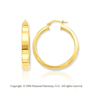 14k Yellow Gold 1 � inch, 6mm Medium Hoop Earrings