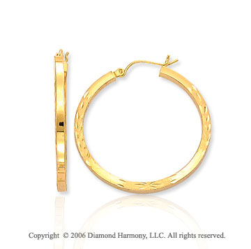 14k Yellow Gold 1 3/8 inch, 3mm Carved Hoop Earrings