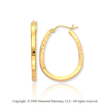 14k Yellow Gold 1 3/8 in, 3mm Medium Carved Hoop Earrings