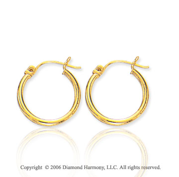 14k Yellow Gold � inch, 2mm Extra Small Hoop Earrings