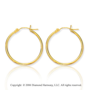 14k Yellow Gold 1 inch, 2mm Small Hoop Earrings