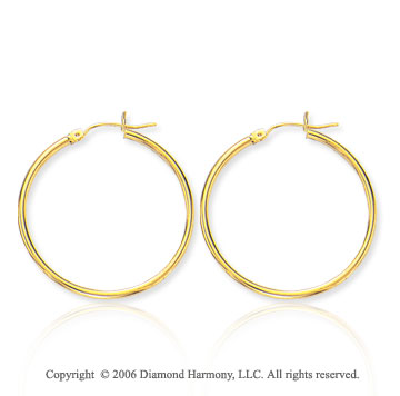 14k Yellow Gold 1 � in, 2mm Medium Hoop Earrings