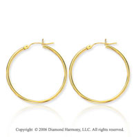 14k Yellow Gold 1 5/8 in, 2mm Large Hoop Earrings