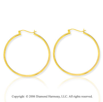 14k Yellow Gold 1 7/8 in, 2mm Extra Large Hoop Earrings