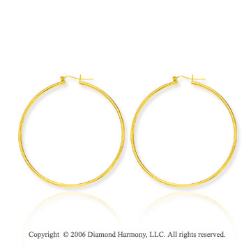 14k Yellow Gold 2 1/6in,2mm Super Large Hoop Earrings