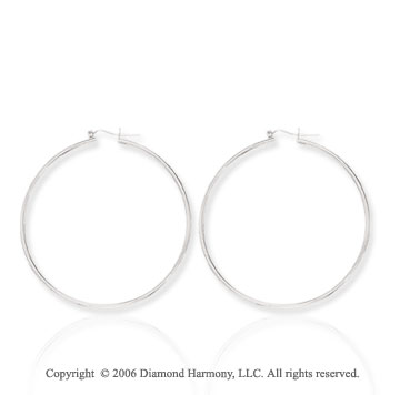 14k White Gold 2 1/3in, 2mm Super Large Hoop Earrings