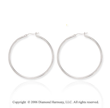 14k White Gold 2 inch, 2mm Extra Large Hoop Earrings