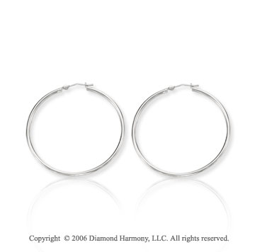 14k White Gold 1 5/8 in, 2mm Large Hoop Earrings