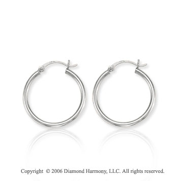 14k White Gold 1 1/8 in, 2mm Small Hoop Earrings