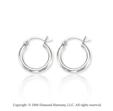 14k White Gold � inch, 2mm Extra Small Hoop Earrings