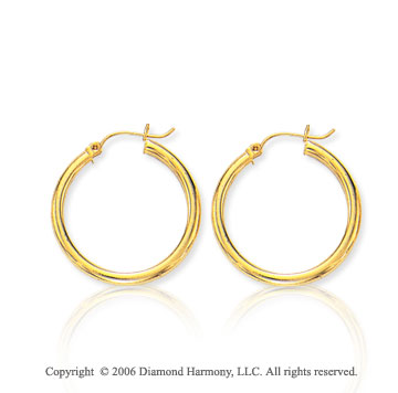 14k Yellow Gold 1 1/8 in, 3mm Small Hoop Earrings