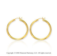 14k Yellow Gold 1 1/8 in, 3mm Medium Hoop Earrings