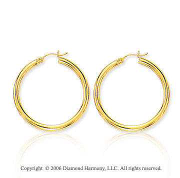 14k Yellow Gold 1 5/8 in, 3mm Large Hoop Earrings