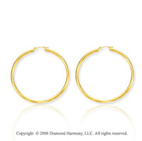 14k Yellow Gold 1 3/4 Inch 1.5mm Large Hoop Earrings