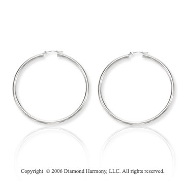 14k White Gold 2 inch, 3mm Extra Large Hoop Earrings