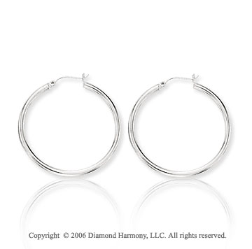 14k White Gold 1 5/8 inch, 3mm Large Hoop Earrings