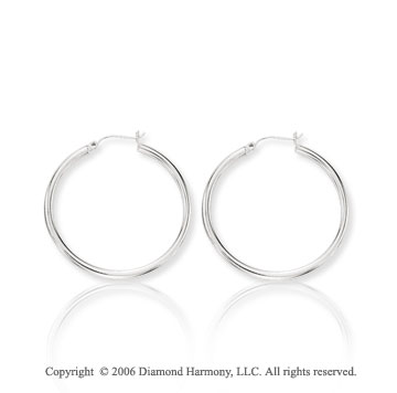 14k White Gold 1 3/8 inch, 3mm Medium Hoop Earrings