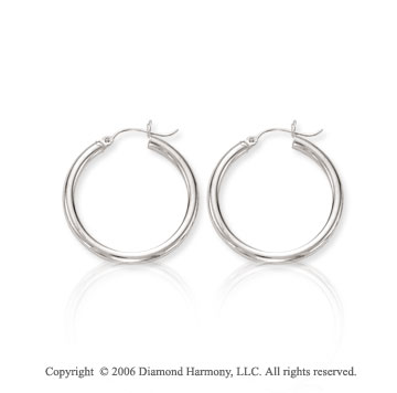14k White Gold 1 1/8 inch, 3mm Small Hoop Earrings