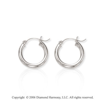 14k White Gold � inch, 3mm Extra Small Hoop Earrings