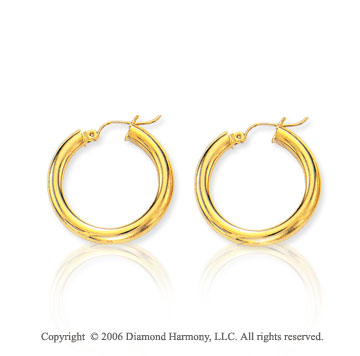 14k Yellow Gold 1 inch, 4mm Small Hoop Earrings