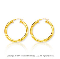 14k Yellow Gold 1 � inch, 4mm Medium Hoop Earrings