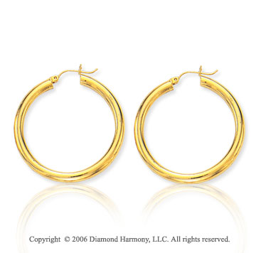 14k Yellow Gold 1 5/8 inch, 4mm Large Hoop Earrings