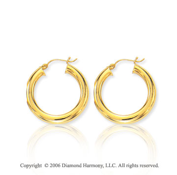 14k Yellow Gold 1 1/8 inch, 5mm Medium Hoop Earrings