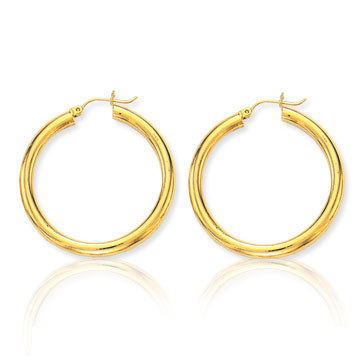14k Yellow Gold 1 5/8 inch, 5mm Large Hoop Earrings