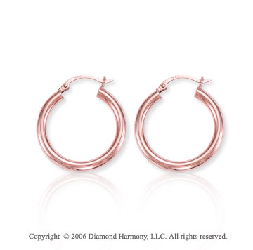 14k Rose Gold 1 1/8 inch, 4mm Medium Hoop Earrings