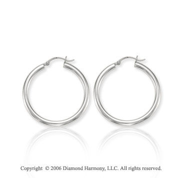 14k White Gold 1 5/8 inch, 4mm Large Hoop Earrings